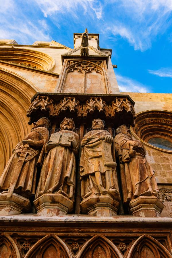 Figures of apostles in the main portal of Tarragona Cathedral stock images