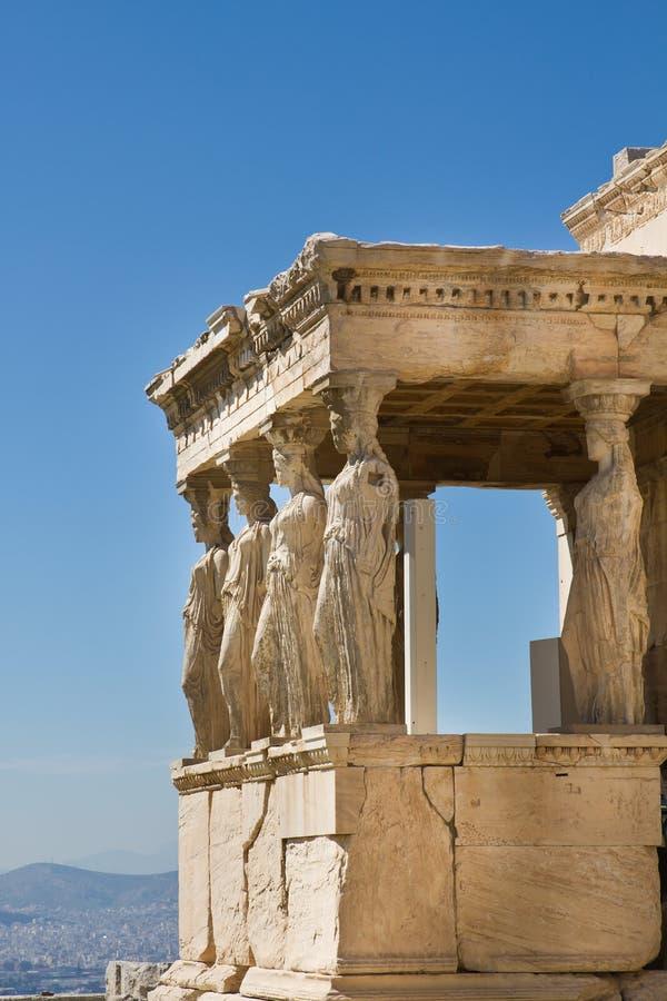 Figures of Caryatids Porch of the Erechtheion on the Parthenon on Acropolis Hill, Athens, Greece royalty free stock photo