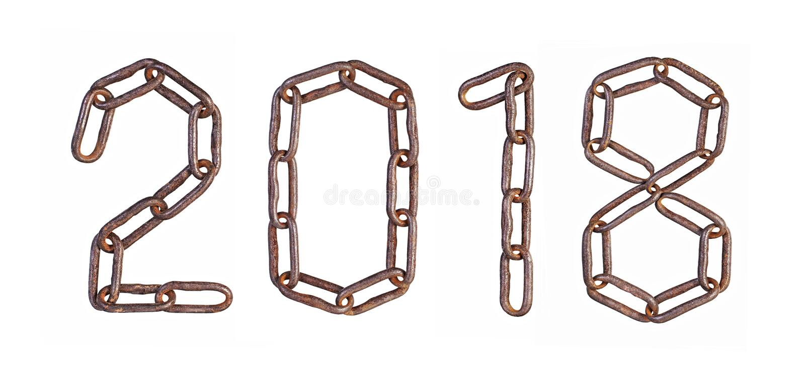 2018. Figures from chain links. New year royalty free stock images