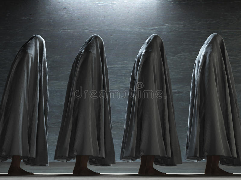 Figures. Covered in gray cloth stock illustration