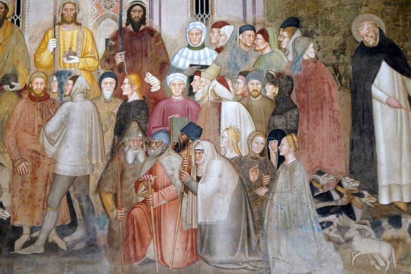 Figures du clergé et des laïcs, détail de l'église active et triomphante, fresque en église de Santa Maria Novella à Florence images stock