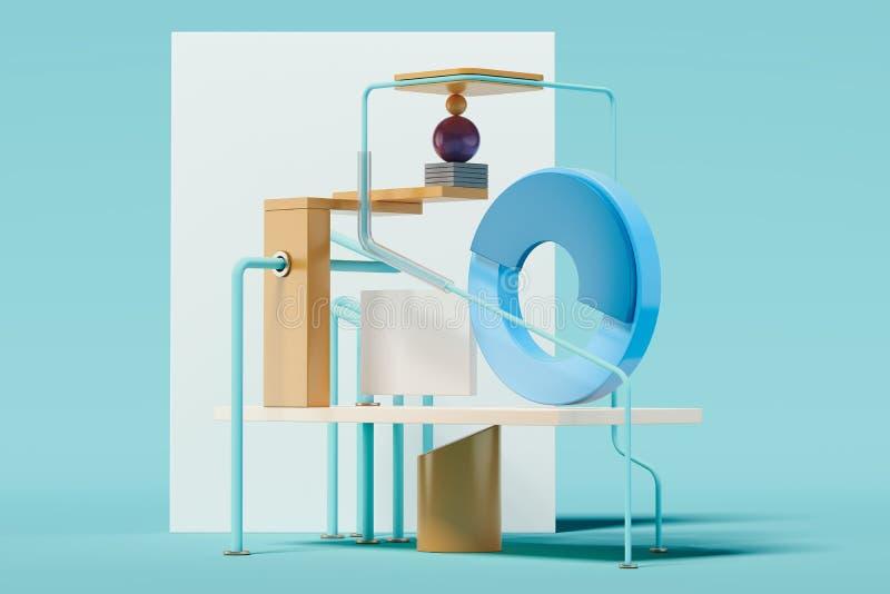 Figures et objets géométriques multicolores sur le fond bleu rendu 3d illustration de vecteur