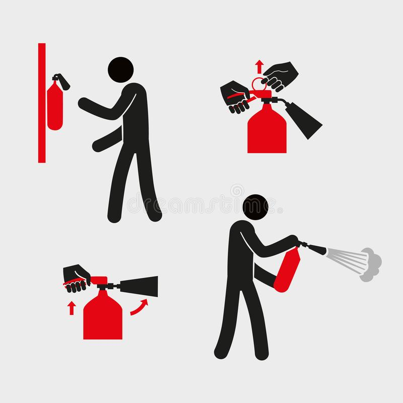 Figures for explaining the use of a fire extinguisher. A stylized simplistic man holds a fire extinguisher. Vector graphics vector illustration