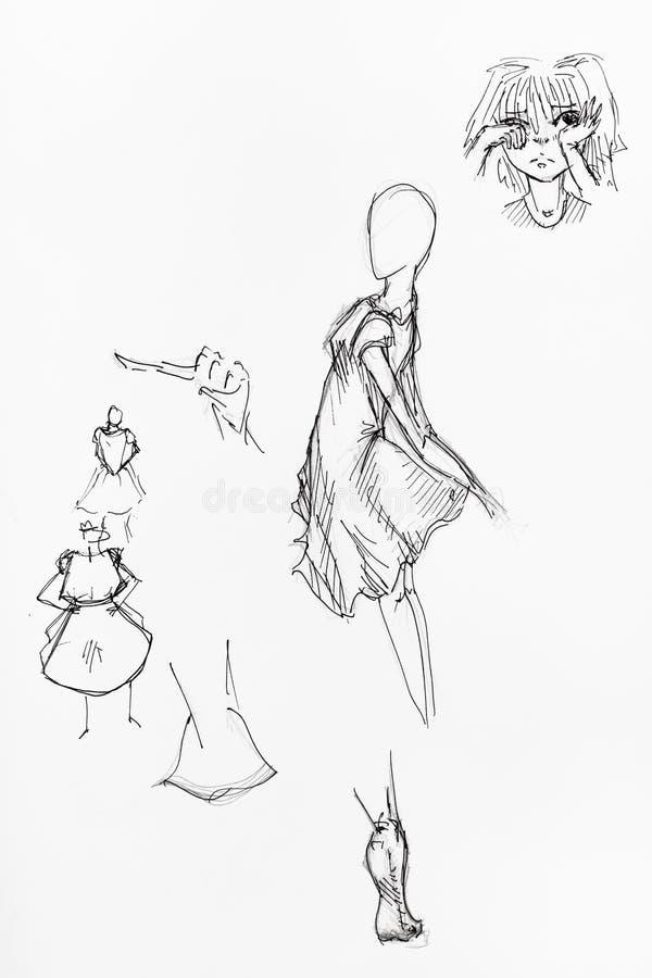Figures femelles dans les robes, la t?te et le pied courts illustration stock