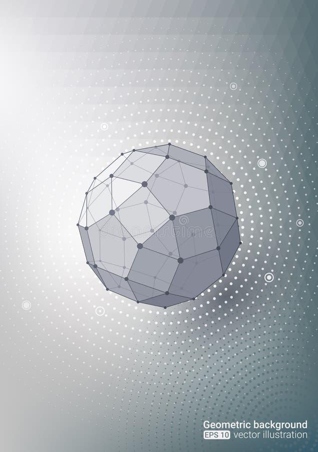 Figures géométriques Points et lignes Fond gris Ton doux de couleur Médecine et technologie Image abstraite illustration libre de droits