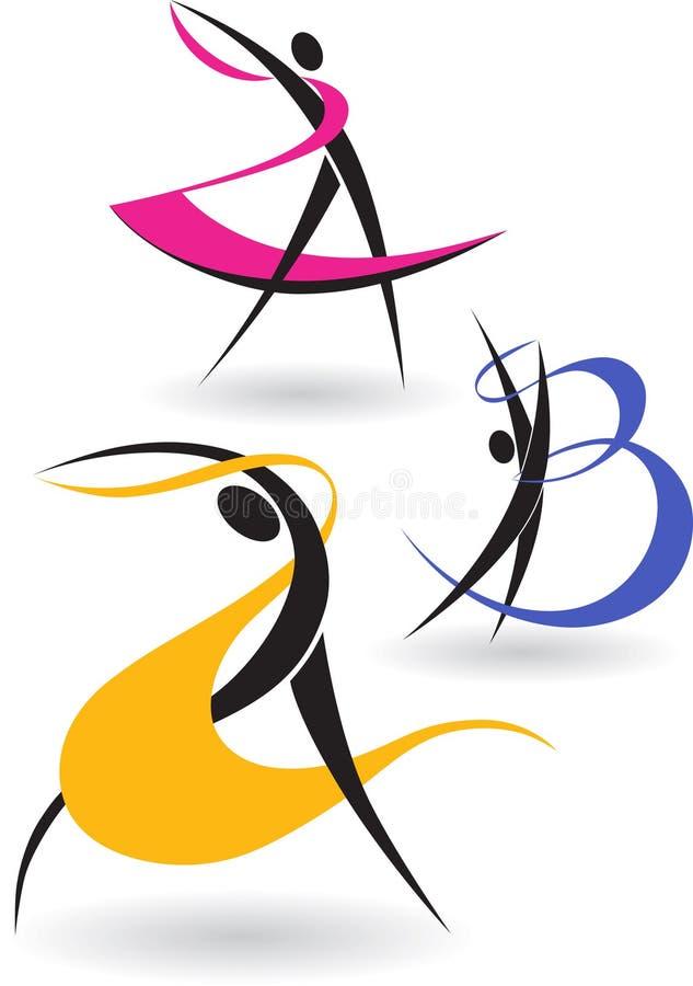 figures gymnastiskt stock illustrationer