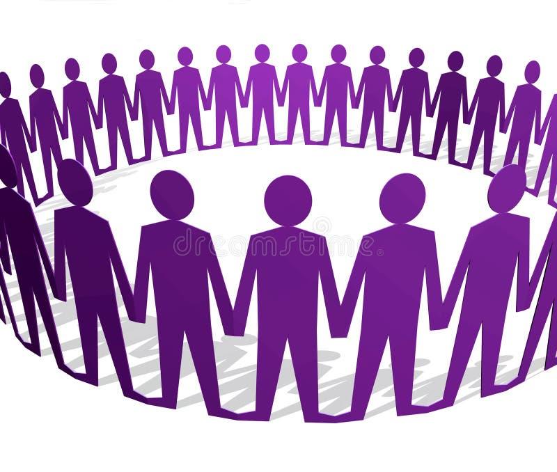 Figures humaines retenant des mains en cercle illustration de vecteur