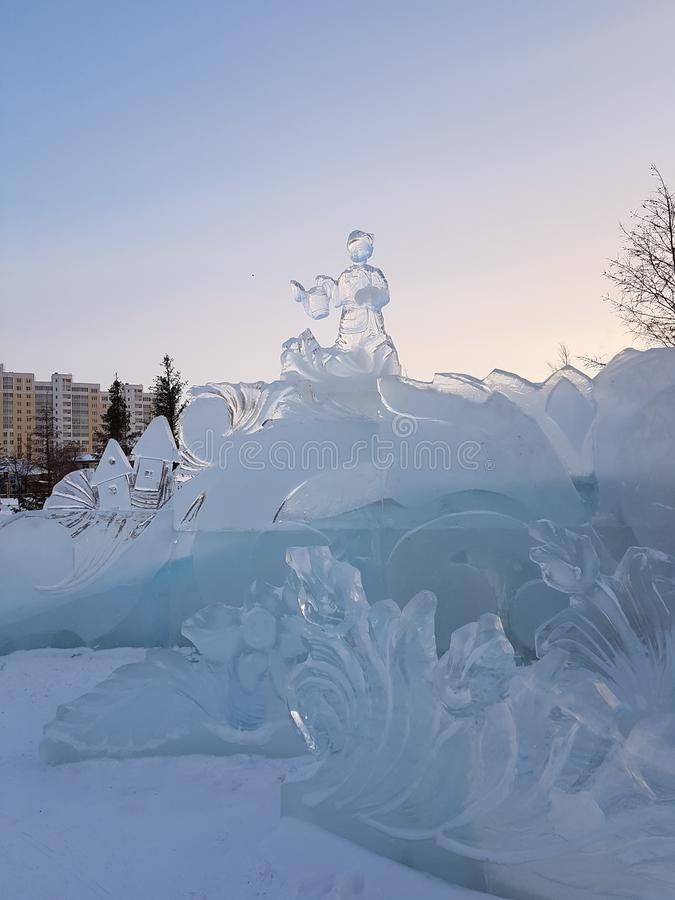 Figures from ice. Under the open sky. Beautiful work of the master. stock image