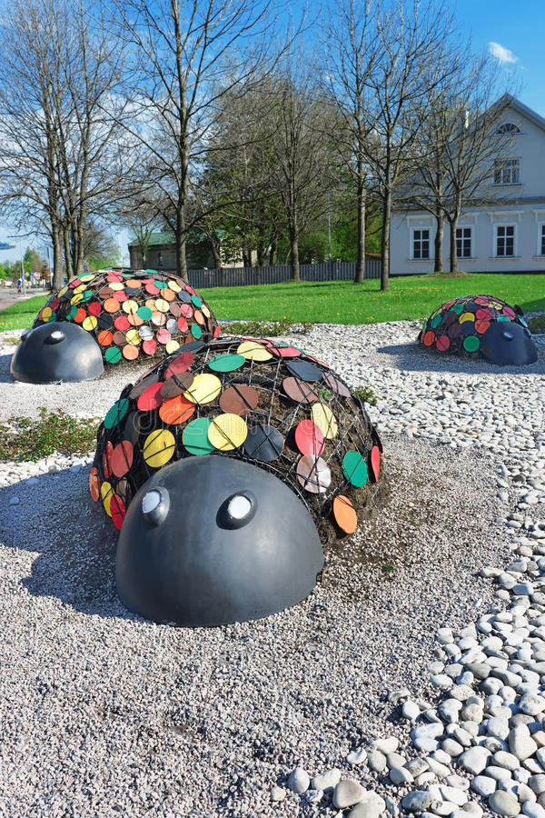 Figures of ladybirds in the Street of Ventspils in Latvia. Ventspils, Latvia - May 8, 2016: Figures of ladybirds in the Street of Ventspils in Latvia. It is a stock photos