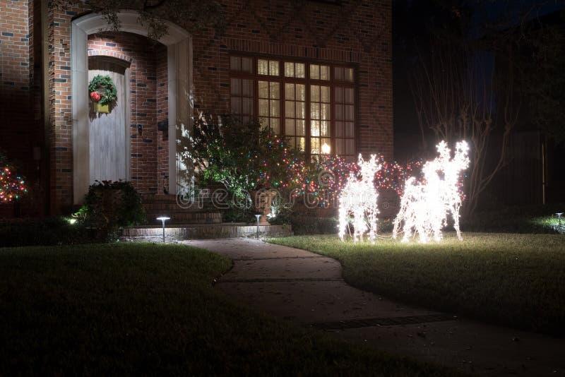 Figures lumineuses des cerfs communs et des buissons dans des guirlandes de lumière christ photos stock