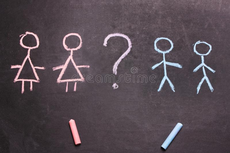 Figures of men and women are drawn chalk Concept royalty free stock photo