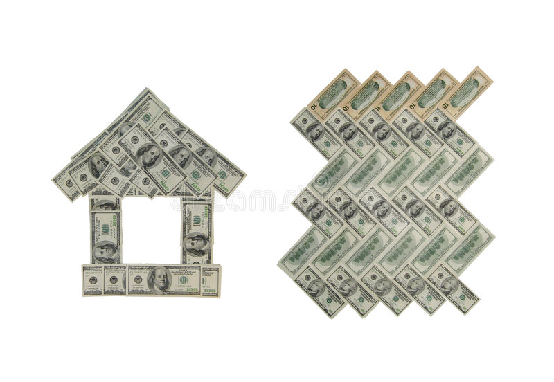 Figures from a money. Cottage and parquet from a money royalty free stock image