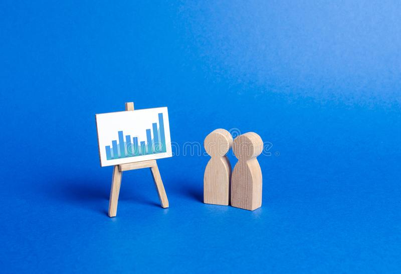 Figures of people look at the stand with positive trend chart and discuss business strategy and plans for company development. Analysis of the results royalty free stock images