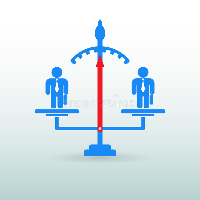 Figures of people standing on the scales. Competition. Business. Concept. Selection of the employee vector illustration