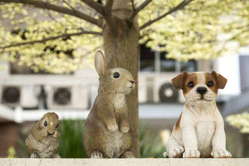 The Easter Bunny with friends. The Easter Bunny also called the Easter Rabbit or Easter Hare is a folkloric figure and symbol of Easter, depicted as a rabbit stock photo
