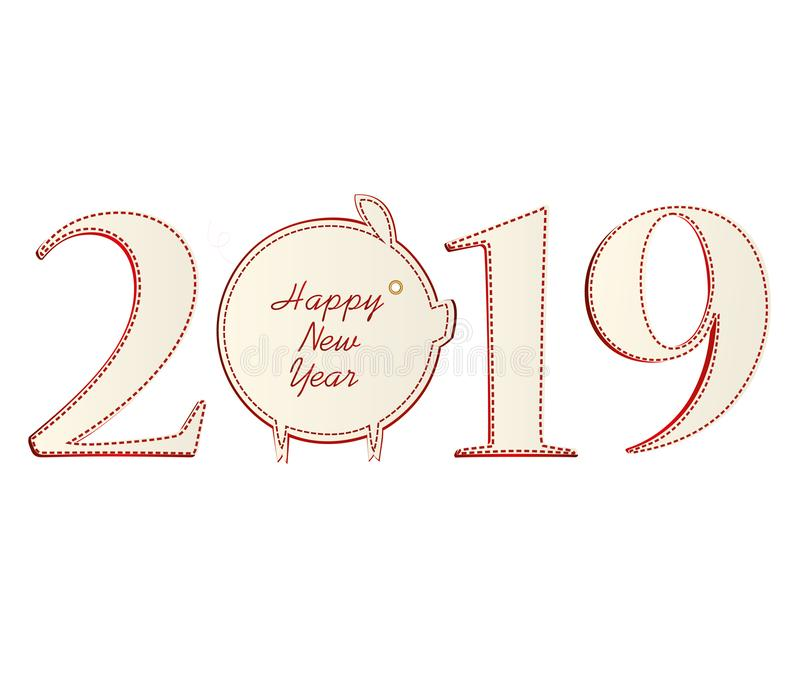 Figures 2019 with pig of paper. New Year, Christmas, winter theme. Vector. Greeting card on a white background.  vector illustration