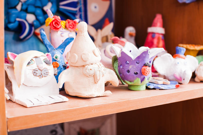 Figures from plasticine. Set of cute animals made from modeling clay by children stock photos