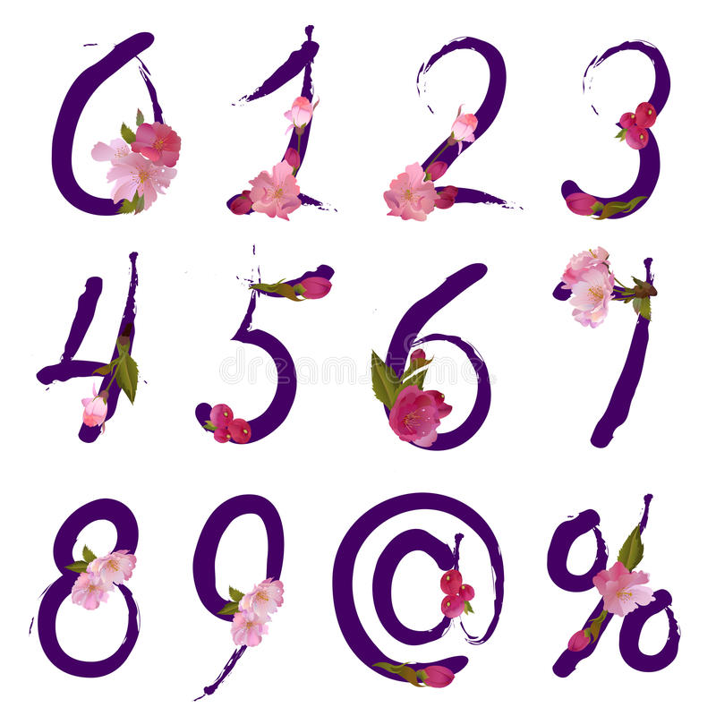 Figures and signs with spring flowers - vector vector illustration
