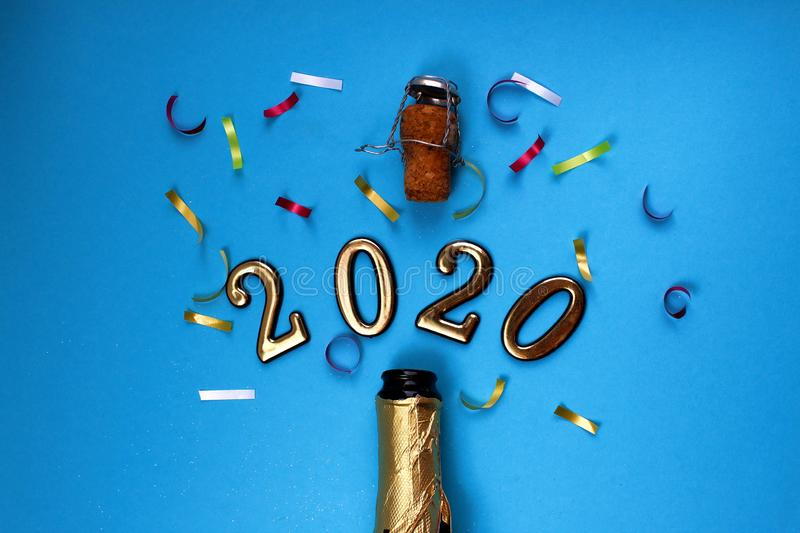 Figures 2020 sprinkled from a champagne bottle stock photography
