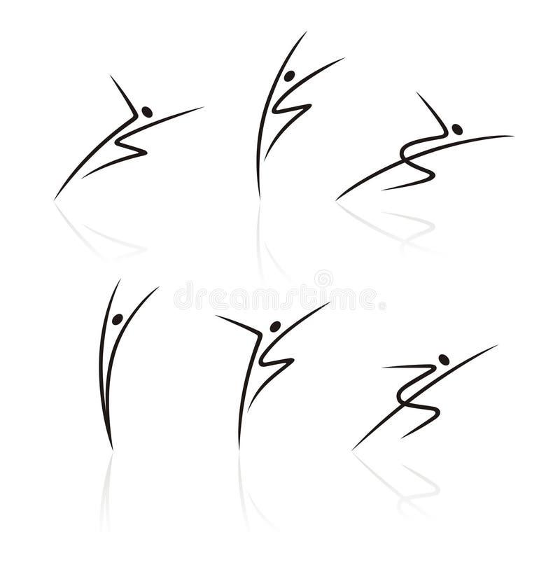 figures stylized folk royaltyfri illustrationer