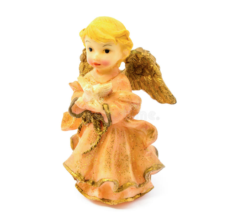 Figurilla del ángel de la porcelana con la paloma aislada en el fondo blanco foto de archivo