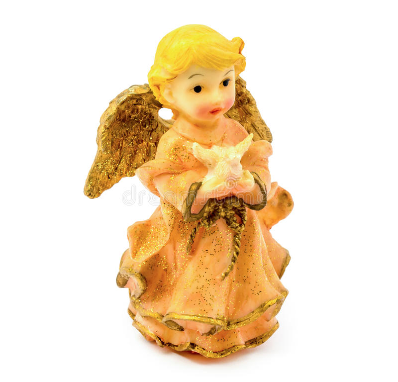 Figurilla del ángel de la porcelana con la paloma aislada en el fondo blanco foto de archivo libre de regalías