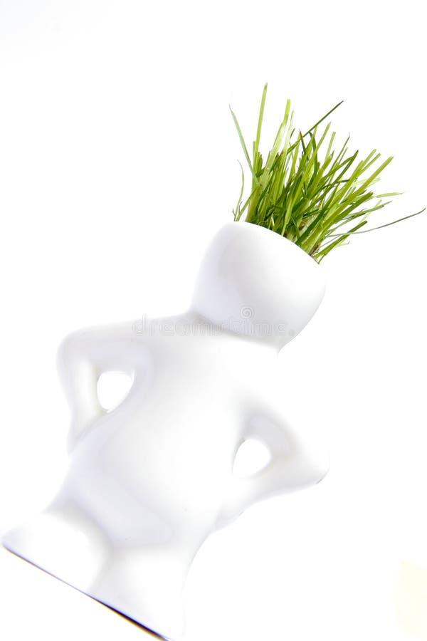 Figurilla humana con el pelo de la hierba fotos de archivo