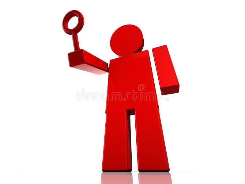 Figurina astratta rossa enorme con un vetro della lente royalty illustrazione gratis