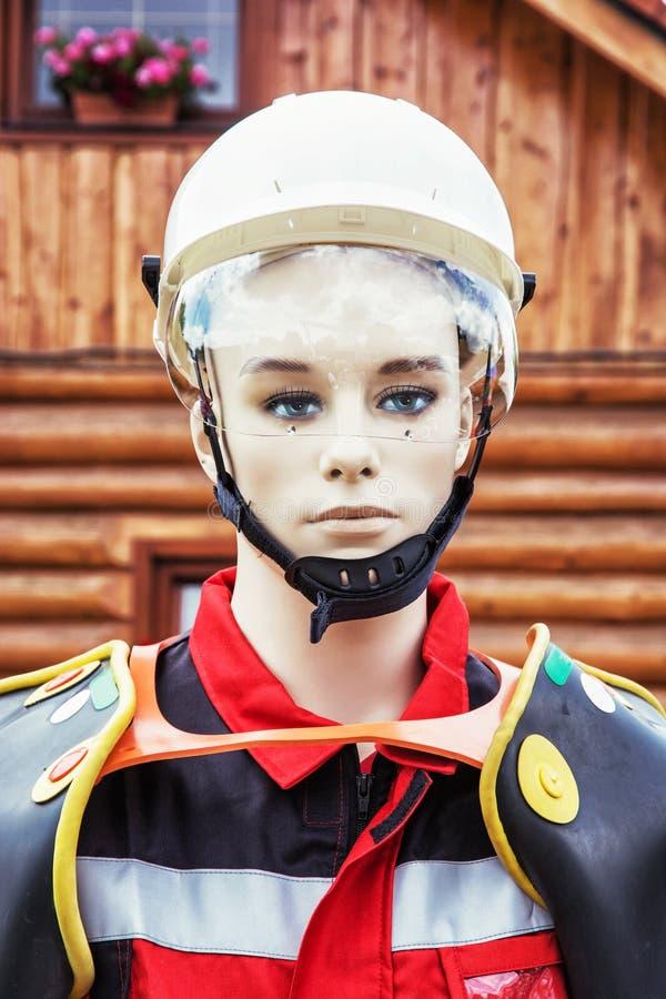 Figurina con l'abbigliamento di salvataggio, modello esposto immagine stock