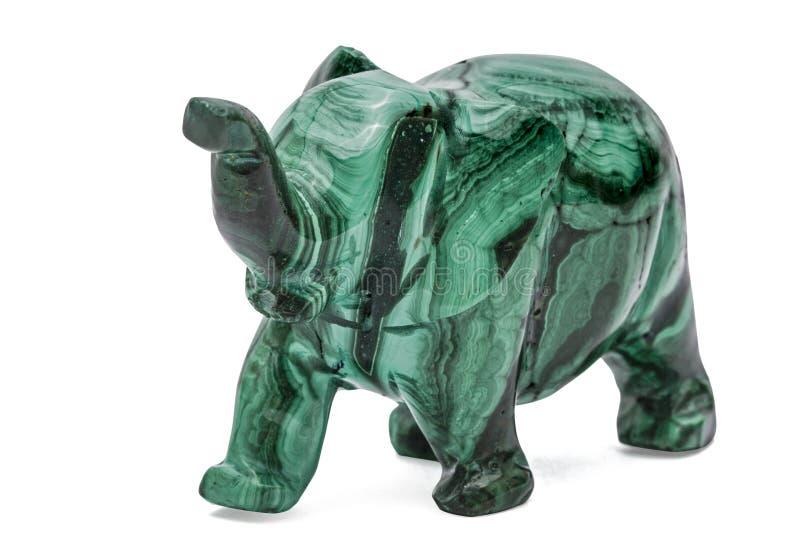 Figurina dell'elefante da malachite, isolata su fondo bianco fotografia stock libera da diritti