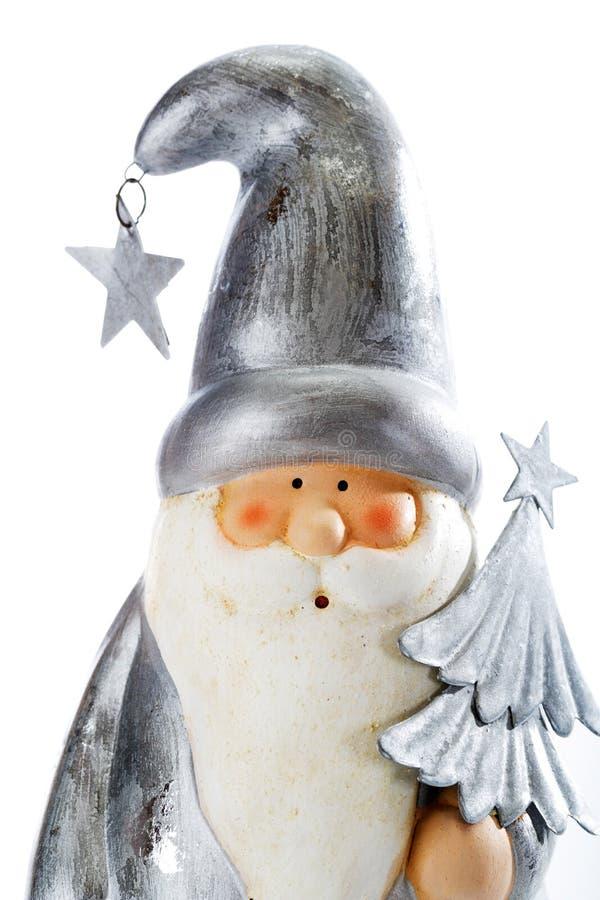Figurina di Santa Claus su fondo bianco immagini stock