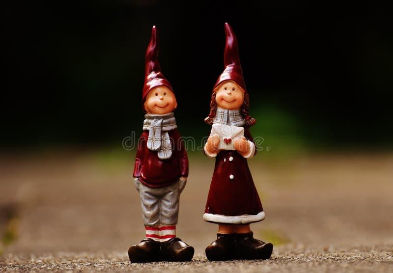 Figurine, орнамент лужайки, гном сада, рождество стоковая фотография