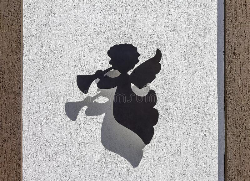 Figurine of an angel on the wall of the museum `House of angels`. Zelenogradsk, Russia stock photos