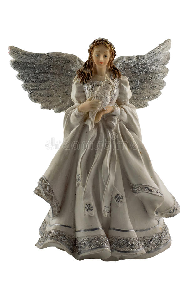Figurine of an angel on a white background. Isolated figurine of an angel with beautiful wings royalty free stock photography