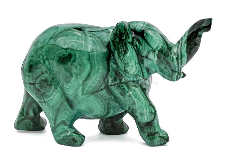 Figurine d'éléphant de la malachite, d'isolement sur le fond blanc, photos stock