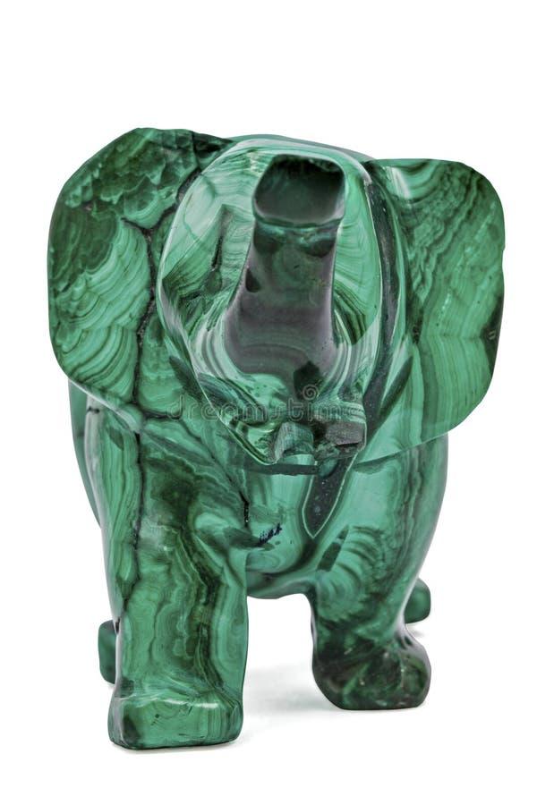 Figurine d'éléphant de la malachite, d'isolement sur le fond blanc, image libre de droits