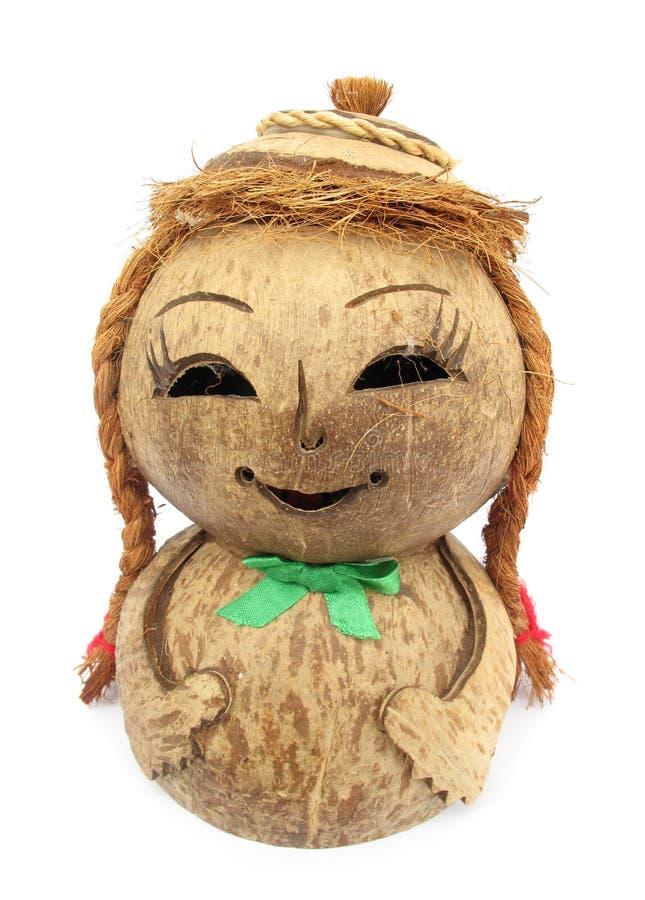 Figurine de madeira da boneca do coco foto de stock