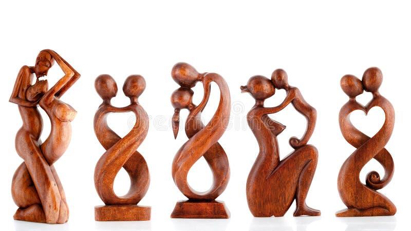 Figurine di legno, figurine decorative, figurina umana, fotografia stock libera da diritti