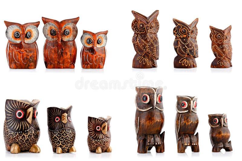 Figurine di legno, figurine decorative, gufo, fotografia stock libera da diritti