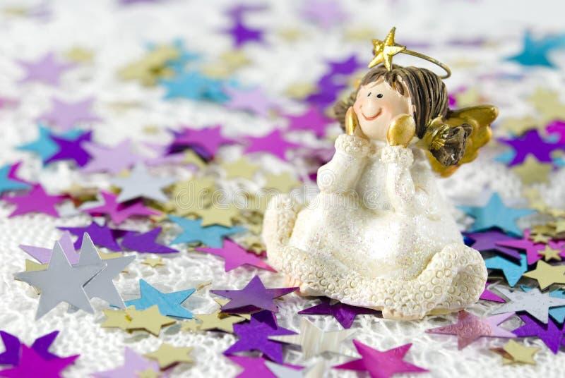 Figurine do anjo da decoração do Natal imagens de stock