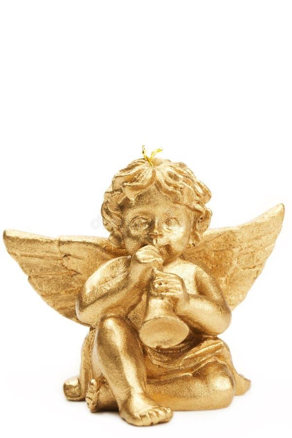 Figurine dorato di natale con la tromba fotografie stock libere da diritti