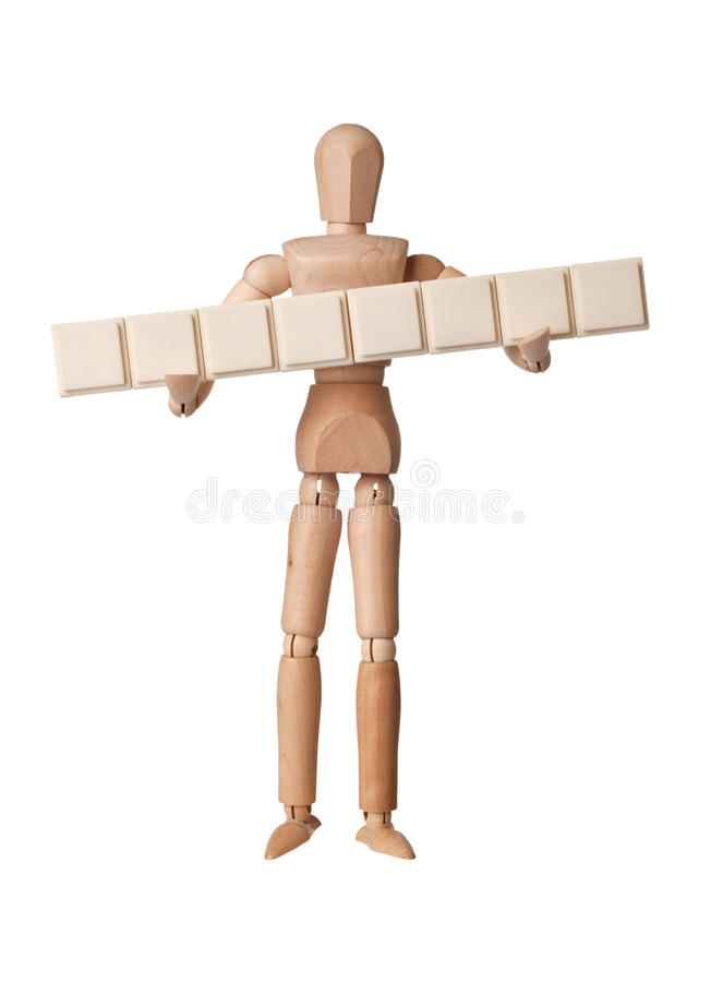 Download Figurine With Eight Empty Text Blocks Stock Photo - Image of word, english: 22907366