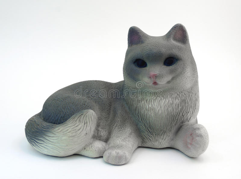Figurine gray cat royalty free stock images