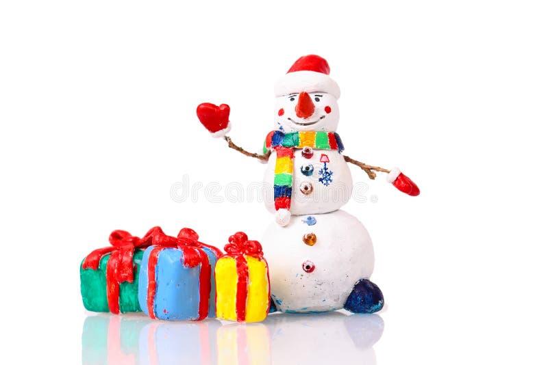 Figurine mignonne de bonhomme de neige photographie stock libre de droits