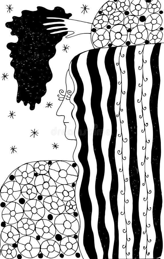 Figurine mit langhaariger Frau in einer Strickjacke Boho-Tintengekritzel-Karikaturillustration abstrakter geometrischer Hintergru vektor abbildung