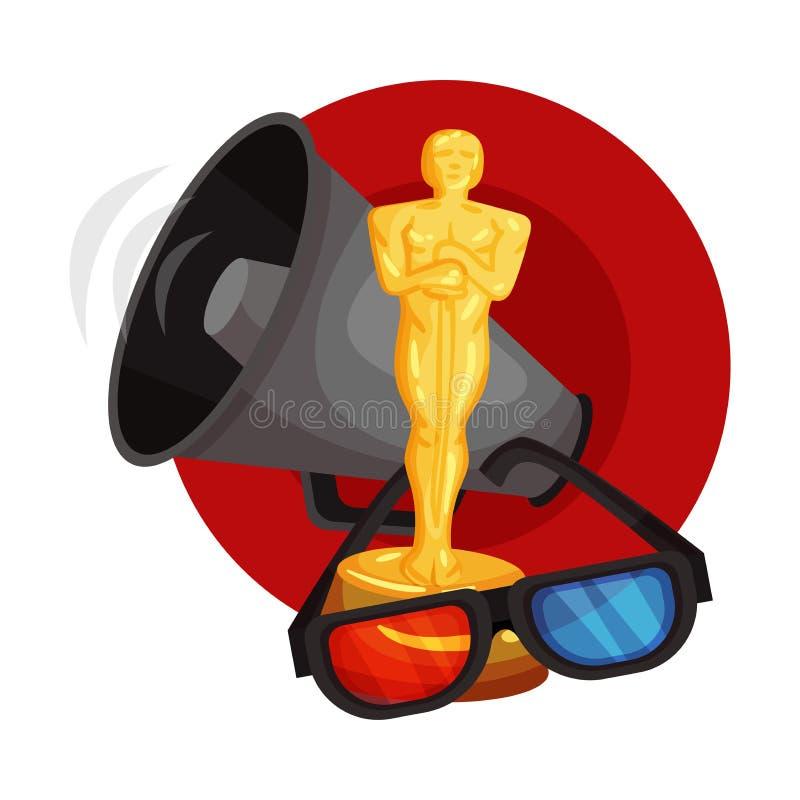 Figurine Oscar, 3D-glasögon och ett skrik i en röd cirkel Vektorbild på en vit bakgrund vektor illustrationer