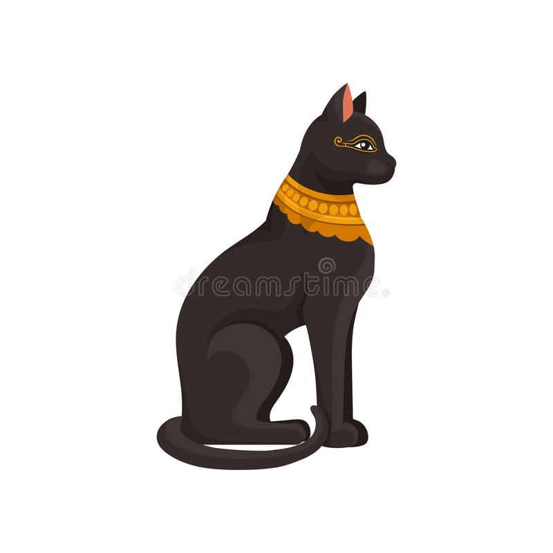 Figurine of sitting black Egyptian cat with golden necklace. Goddess Bastet statue. Ancient Egypt theme. Flat vector royalty free illustration