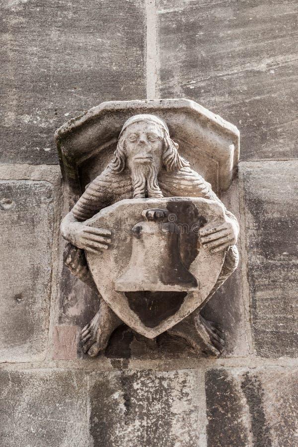 Figurine sur le mur de St Lorenz et de x28 ; St Lawrence et x29 ; église, Nurem image libre de droits