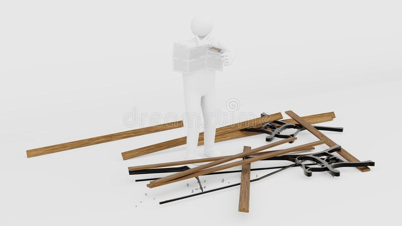 Figurine trying to assemble a parkbench royalty free stock photography