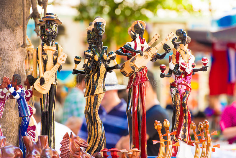Figurines Cuban musicians. Close-up. Blurred background. royalty free stock photos
